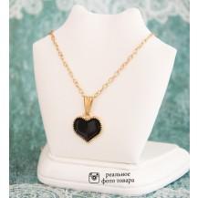 Кулон на цепочке Сердечко цвет черный (tb1387)