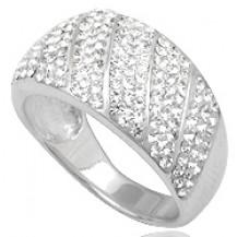 Кольцо TN681. Серебро 925. Swarovski crystals, размер 18