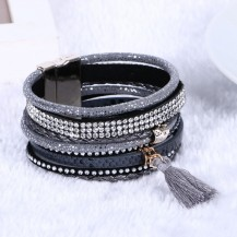 Широкий многослойный браслет с подвеской Серый tb1385