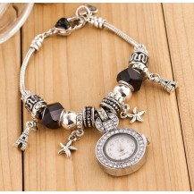 Женские часы в стиле Пандора черные 061-4