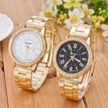 Часы женские Женева золотистые, черный циферблат 64-01. Уценка