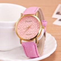 Часы женские Женева Geneva Цветы розовые 065-03