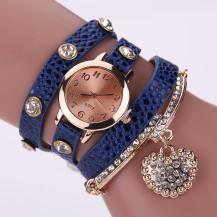 Часы-браслет длинные, наматывающиеся на руку Синие 089-3