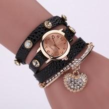 Часы-браслет длинные, наматывающиеся на руку Черные 089-6. Уценка