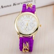 Часы Женева с силиконовым ремешком и цепочкой Сиреневые