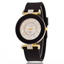 Часы женские силиконовый ремешок Черные 085-3