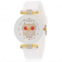 Женские часы Сова с силиконовым ремешком белые