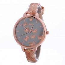 Часы Женева Geneva тонкий ремешок бабочки светлая Бронза 086-2