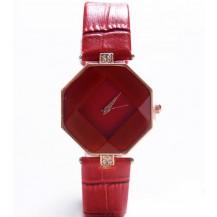 Часы с геометрическим циферблатом красные 072-1