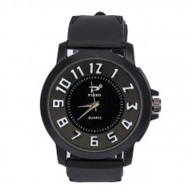 Мужские часы Объемные цифры силиконовый ремешок черные mw17-1