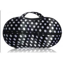 Органайзер - сумочка для бюстгальтеров (с сеточкой) черный в белый горошек