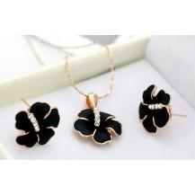 Комплект Black Flower (Italina Rigant). Позолота 18k (ab206)