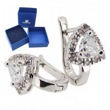 Серебряные серьги c кристаллами Swarovski (родир.) BS20