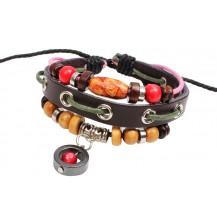 Кожаный браслет с гематитовым кругом (tb2053)