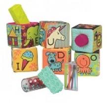 Развивающие мягкие кубики-сортеры ABC (6 кубиков, в сумочке, мягкие цвета) от Battat - под заказ