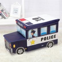 Пуф Короб складной, ящик для игрушек С КАПОТОМ Полиция