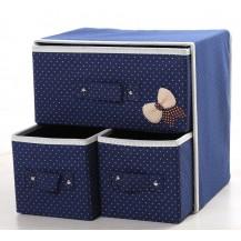 Органайзер для белья и одежды Комодик 3 ящика Синий
