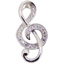 Серебряный кулон Скрипичный ключ с цирконами