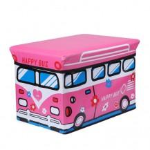 Пуф Короб складной, ящик для игрушек Розовый Автобус
