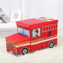 Пуф Короб складной, ящик для игрушек С КАПОТОМ Пожарная машина (уценка)