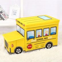 Пуф Короб складной, ящик для игрушек С КАПОТОМ Школьный Автобус желтый