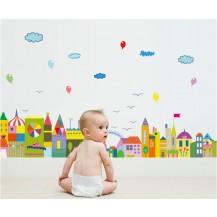 Детская Интерьерная наклейка на стену Город - изучение цветов sk7069