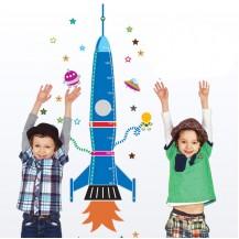 Детская наклейка-ростомер на стену Ракета AY9028