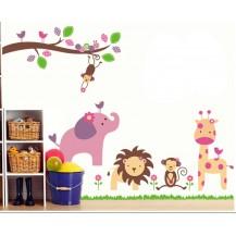 Детская наклейка на стену Зверята AY869
