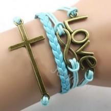 Браслет 4в1 Крестик, Love, голубой цвет (tb927)