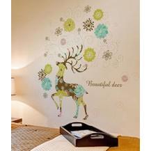 Интерьерная наклейка на стену Цветы Олень 7006