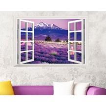 Интерьерная наклейка на стену Окно на лавандовое поле AY9234B