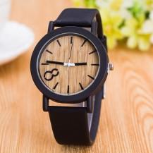 Часы под дерево замшевый ремешок 105-1 черные