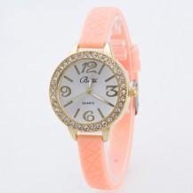 Часы женские на тонком силиконовом ремешке 110-1 Пудра