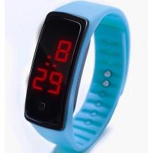 Спортивные силиконовые часы-браслет LED темно-голубые SW2-03