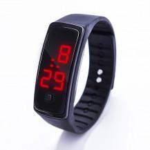 Спортивные силиконовые часы-браслет LED черные SW2-01