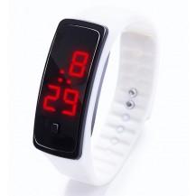 Спортивные силиконовые часы-браслет LED белые SW2-02