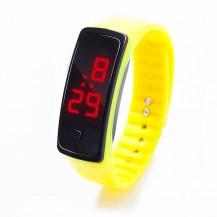 Спортивные силиконовые часы-браслет LED желтые SW2-04