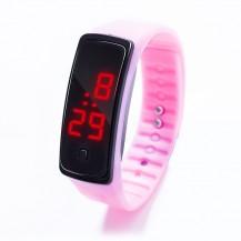 Спортивные силиконовые часы-браслет LED розовые SW2-05
