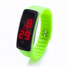 Спортивные силиконовые часы-браслет LED салатовые SW2-06