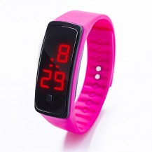 Спортивные силиконовые часы-браслет LED темно-розовые SW2-10