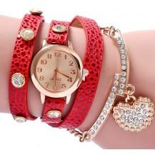 Часы-браслет длинные, наматывающиеся на руку Красные 089-7