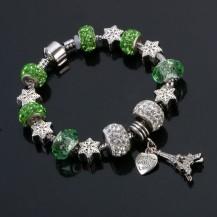 Браслет в стиле Пандора Эйфелева башня зеленый tb1466