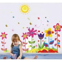 Интерьерная наклейка на стену Цветы и солнышко (mAY708)