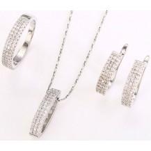 Комплект Дорожка из цирконов серьги, кулон, цепочка, кольцо 18р. белая позолота