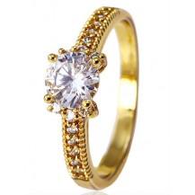 Кольцо классика с цирконами gold filled позолота GF910 Разм 17