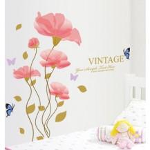 Интерьерная наклейка на стену Розовые Маки (ay908)