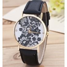 Часы Женева Geneva Кружево черный ремешок 018-02