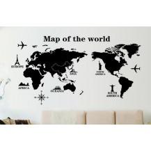 Интерьерная наклейка на стену Карта Мира (ay9133)