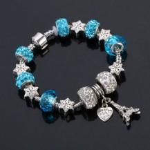 Браслет в стиле Пандора Эйфелева башня голубой tb1314