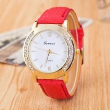 Часы Женева Geneva Полукруг красный ремешок